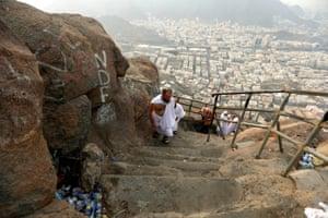 Mecca, Saudi Arabia: Muslim pilgrims visit Mount Al-Noor