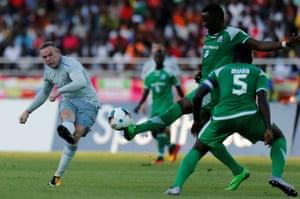 Wayne Rooney scores for Everton against Gor Mahia in Tanzania on Thursday.