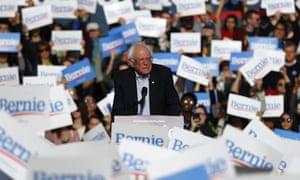 Bernie Sanders speaks during a rally in Warren, Michigan in April.