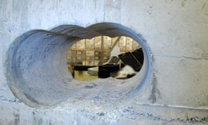 The hole drilled through the concrete vault during the Hatton Garden heist