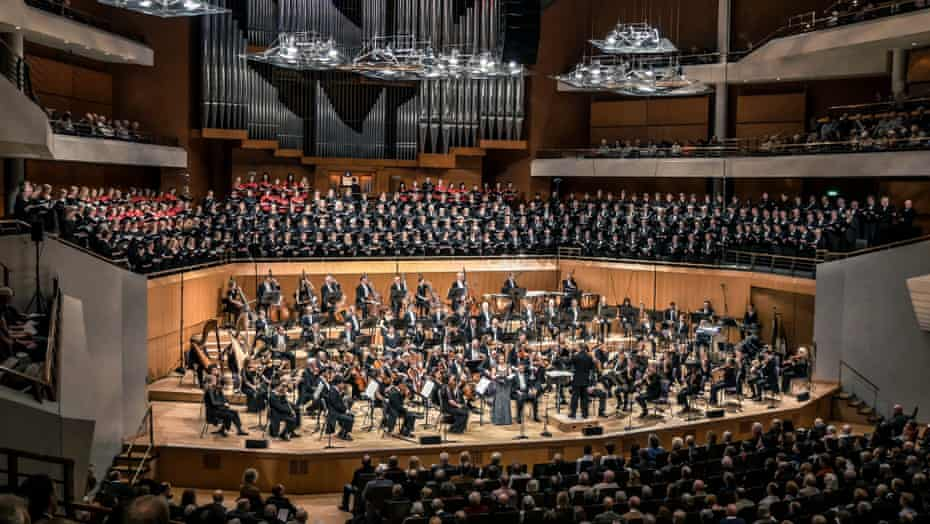 The massed ranks of the Hallé Orchestra and choirs conducted by Mark Elgar's in Elgar's The Dream of Gerontius at the Bridgewater Hall, Manchester.