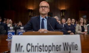 Cambridge Analytica whistleblower Christopher Wylie testifies before the Senate judiciary committee in Washington DC Wednesday.