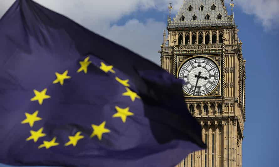 EU flag flies in front of Houses of Parliament