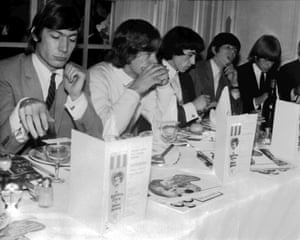 The Rolling Stones eat lunch at the Savoy Hotel in London, on 12 September 1964