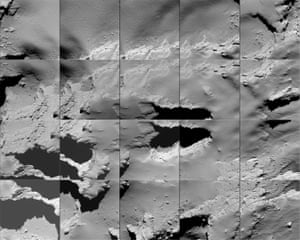 A sequence of images captured by Rosetta during its descent to the surface of the comet