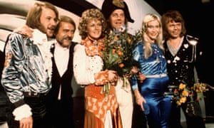 Abba and friends celebrating their Eurovision win in 1974