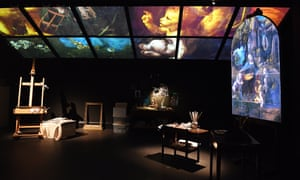The facsimile of a conservator's studio at the National Gallery's Leonardo experience.