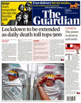 Guardian front page 9 April 2020
