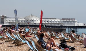 People enjoying the beach at Brighton today. Sunbathing is on the activities allowed since there were minor changes to the lockdown rules in England last week.