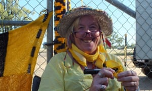 anti-CSG 'Knitting Nannas' protester Dominique Jacobs chained to the gates of the Santos Leewood Water treatment plant, south of Narrabri.