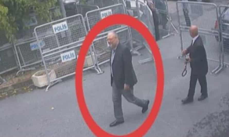 CCTV purportedly showing Jamal Khashoggi entering the Saudi consulate in Istanbul on 2 October.