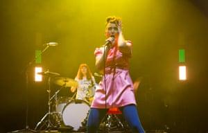 Bikini Kill frontwoman Kathleen Hanna, with Tobi Vail on drums, at the O2 Academy Brixton.
