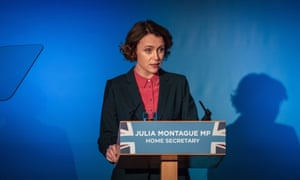 Hawes's home secretary Julia Montague is modelled on Amber Rudd – but in the era of Theresa May's holding the position.