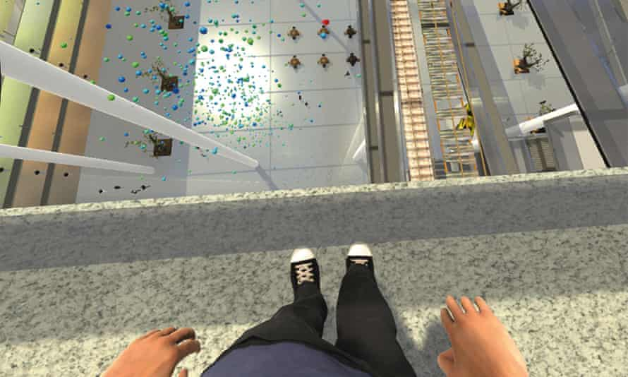 A view of the virtual-reality therapy programme that guides patients through their fear of heights.