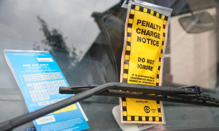illegal parking fine on a windshield in Lamberth