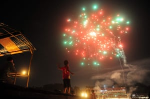 Indian child watches fireworks