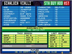 Gianluca Vialli's Championship Manager 1995 stats