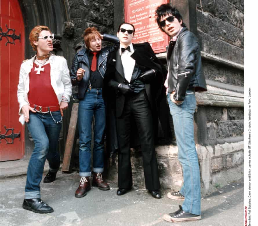 'It was just chaos every night' … Captain Sensible, Rat Scabies, Dave Vanian and Brian James outside a church.