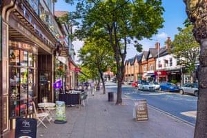The High Street in Alderley Edge, Cheshire.