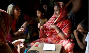 Women from Sreepur village making the Christmas cards