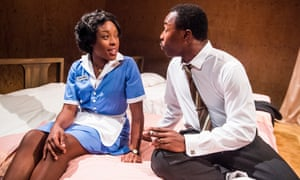 Ronke Adékoluejo and Gbolahan Obisesan in The Mountaintop at the Young Vic in 2016.