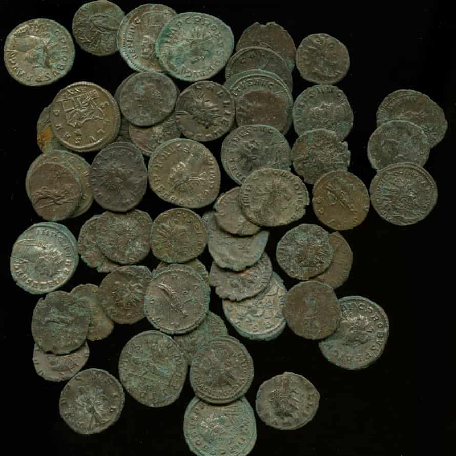 Some of the 2,000 Roman coins found in a clay pot in Dorset.
