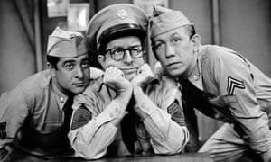 Thinking hard ... Phil Silvers as Sgt Bilko, with Corporals Barbella and Henshaw