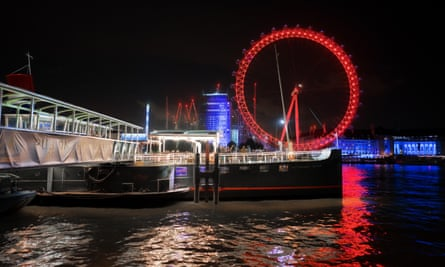 A floating pub on the Thames.