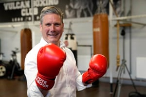 Keir Starmer during a visit to the Vulcan Boxing Club in Hull this morning.