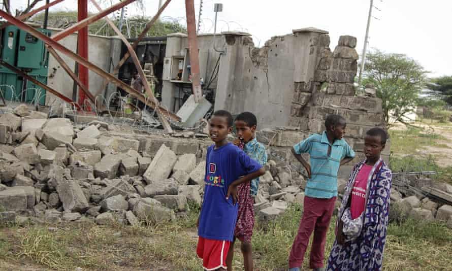 A damaged telecommunications mast in Garissa county, Kenya, where al-Shabaab terrorists killed three teachers in January.