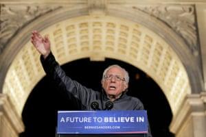 Bernie Sanders under the Washington Square Park arch.