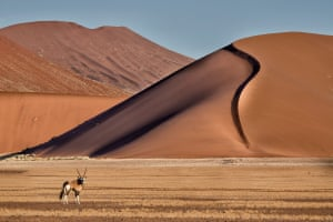 A shot of the spectacular sand dunes found at Sossusvlei in Namibia. The dunes positively come alive in the early morning light and, despite their apparent barren nature, are frequented by considerable numbers of wildlife, including this lone Oryx.