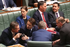 The opposition front bench workshop their tactics during question time this afternoon in the house of representatives, Canberra. Wednesday 21st October 2015