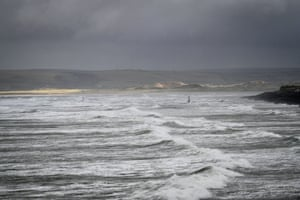 Windsurfers at Westward Ho! in Devon