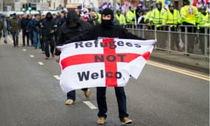 Protestors at the anti-immigration demonstration in Dover, 30 January 2016.