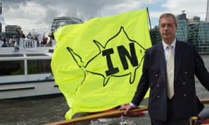 Nigel Farage gets a bite taken out of his pro-Brexit flotilla on the River Thames