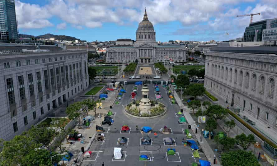 San Francisco's first temporary sanctioned tent encampment for the homeless.