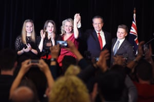 Shorten celebrates with his family including wife Chloe.