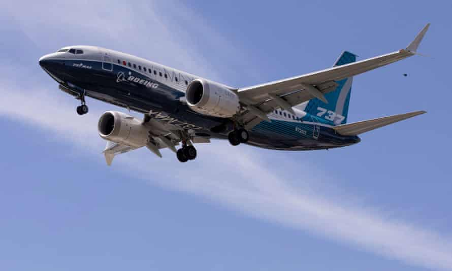 Boeing 737 MAX airplane lands after a test flight at Boeing Field in Seattle