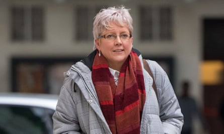 Journalist Carrie Gracie outside BBC Broadcasting House in London.