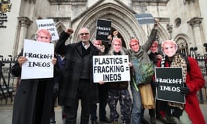 Anti-fracking demonstrators outside the Royal Courts of Justice in London