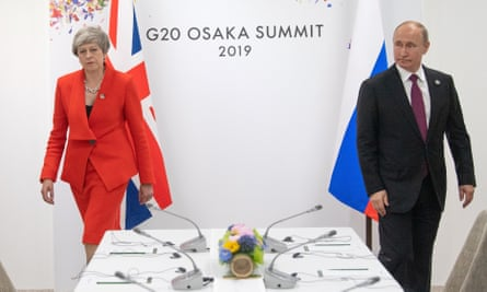 Theresa May meets Vladimir Putin on the first day of the G20 summit in Osaka.