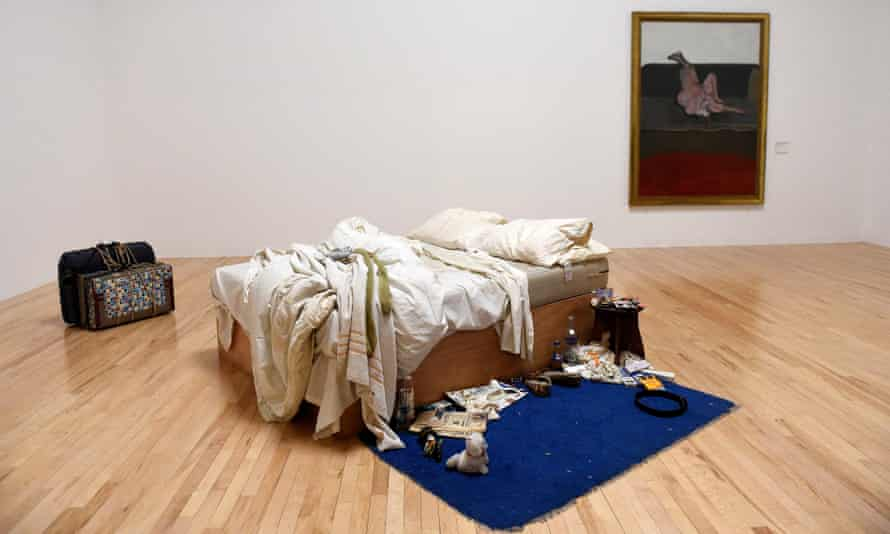 The conceptual artwork My Bed by British artist Tracey Emin.