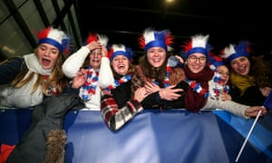 France fans at an under-20 Six Nations Championship match at the Stade Maurice-David, Aix-en-Province.