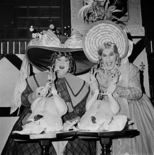 British comedy actors Terry Scott (left) and Julian Orchard as the two Ugly Sisters in Cinderella at the London Palladium, 1971.