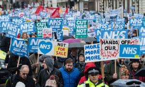A protest last year against underfunding and privatisation of the NHS.