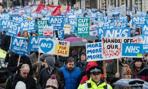 People march through London in February calling for greater NHS funding
