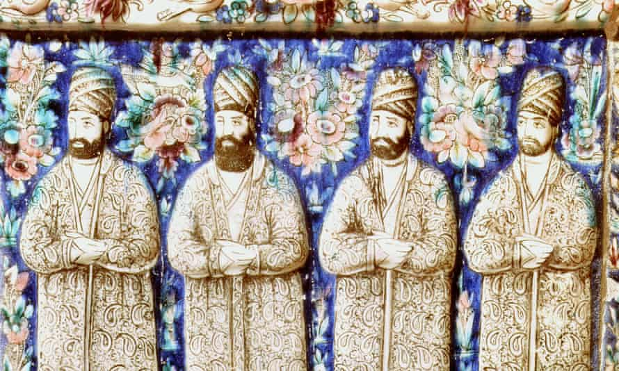 Beards have long been in fashion among Muslim men, as can be seen in this mid-19th-century ceramic portrait of the religious and political advisers of Nasser al-Din, the king of Persia from 1848 until 1896.