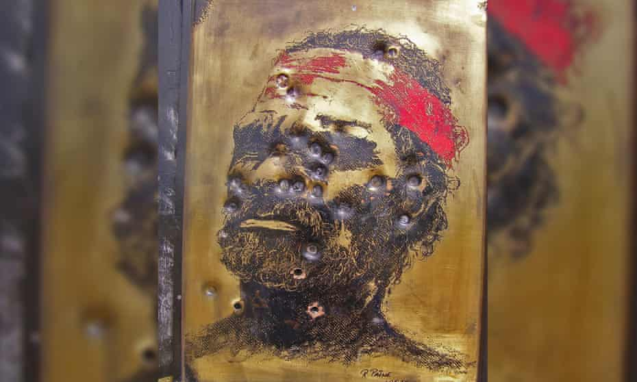A picture of an Aboriginal warrior scarred with bullet holds