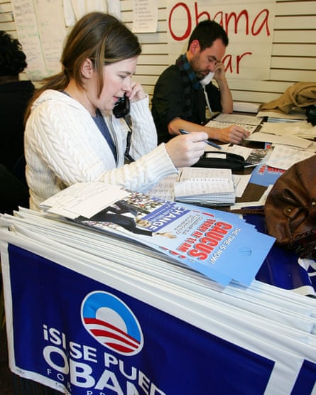 Obama campaign workers at a phone bank in Nevada in January 2008.